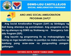 Social Amelioration Program (SAP) Guidelines