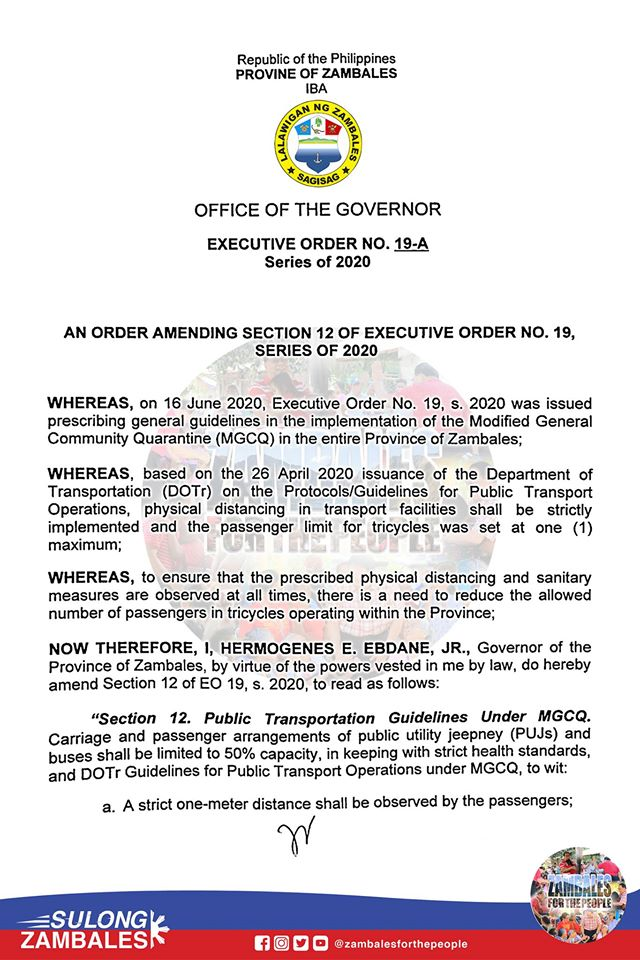 An Order Amending Section 12 of Executive Order No. 19, Series of 2020